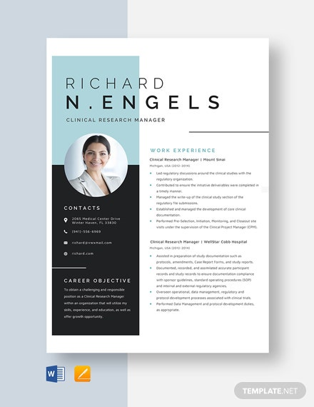 Clinical Research Manager Resume Template
