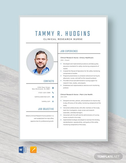 Clinical Research Nurse Resume Template