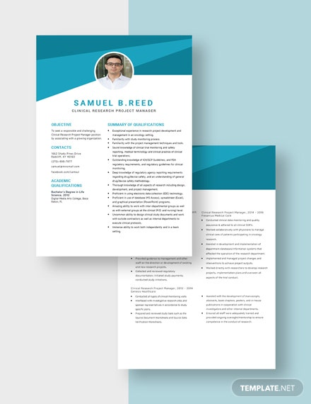 Clinical Research Project Manager Resume Download