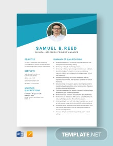 Clinical Research Project Manager Resume Template