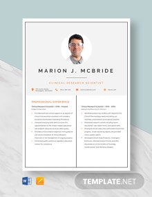 Clinical Research Scientist Resume Template