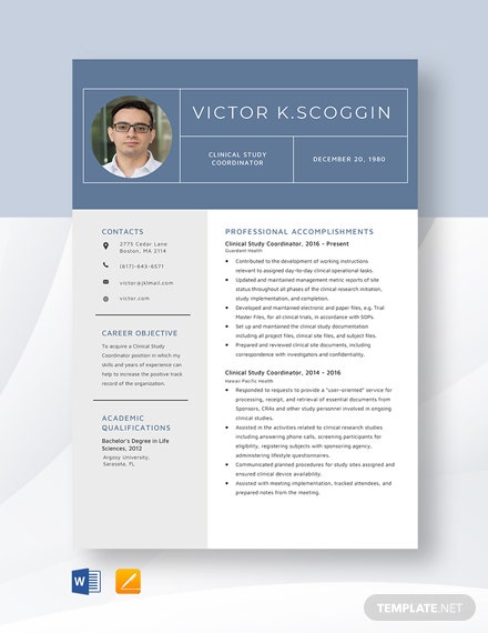 Clinical Study Coordinator Resume Template