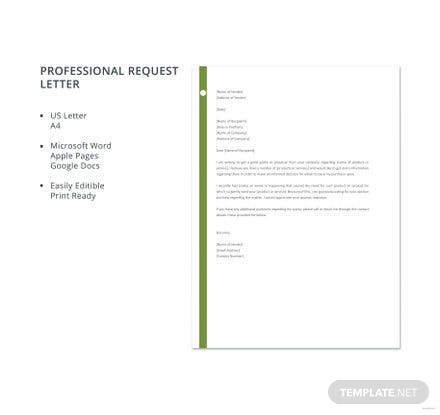 Free Professional Request Letter Template