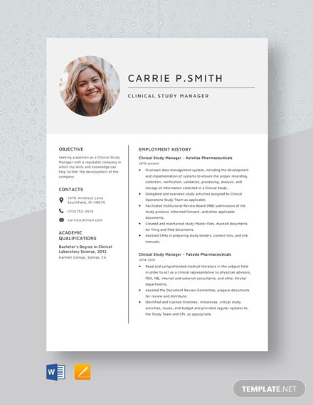 Clinical Study Manager Resume Template