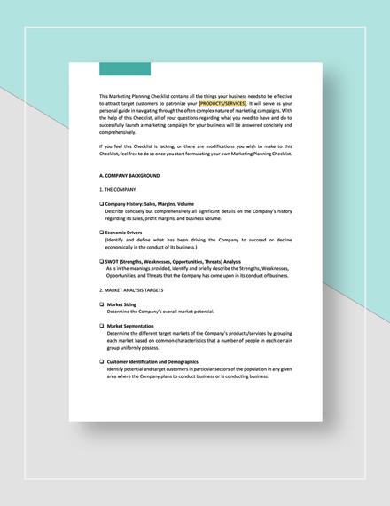 Checklist Market Planning template