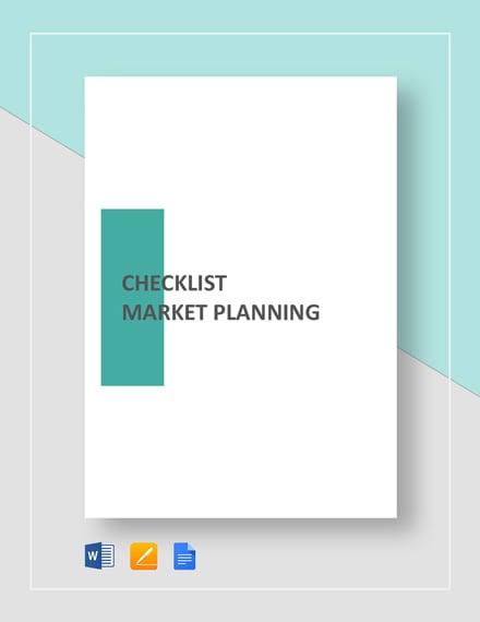 Checklist Market Planning