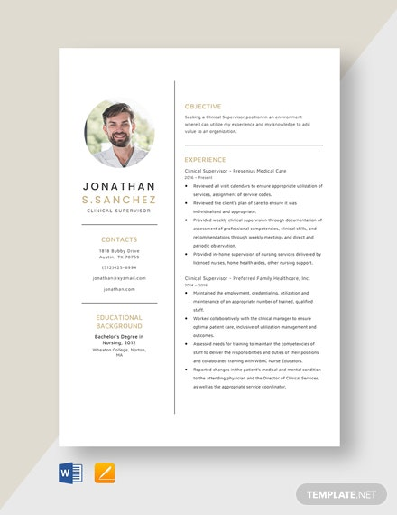 Clinical Supervisor Resume Template