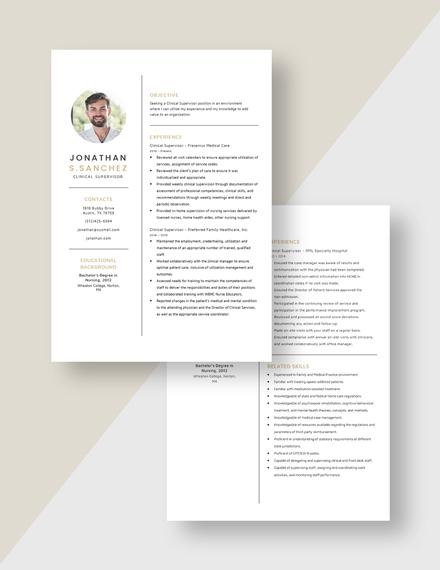 Clinical Supervisor Resume Download