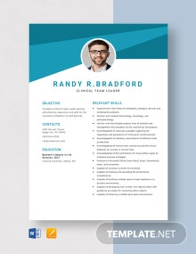 Clinical Team Leader Resume Template