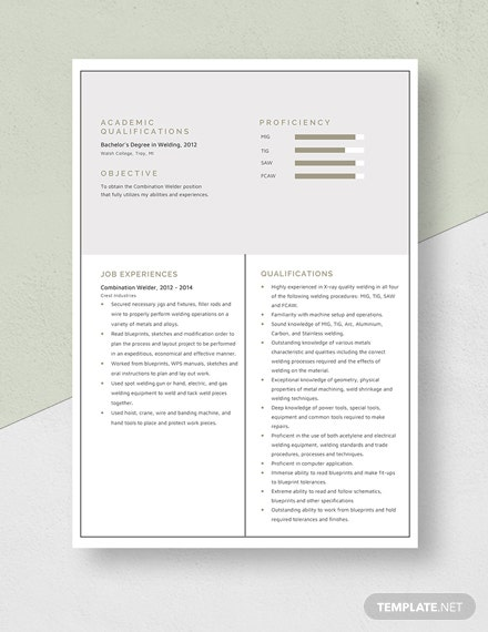 Combination Welder Resume Template