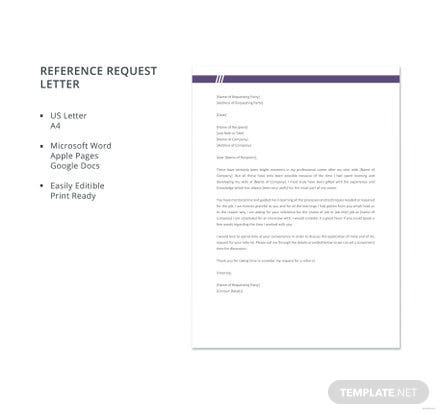 Free Reference Request Letter Template
