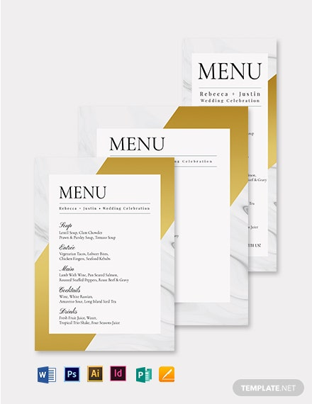 Posh Wedding Menu Template