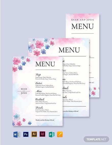 Pretty Wedding Menu Template