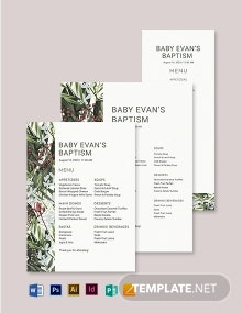 Printable Baptism Menu Template