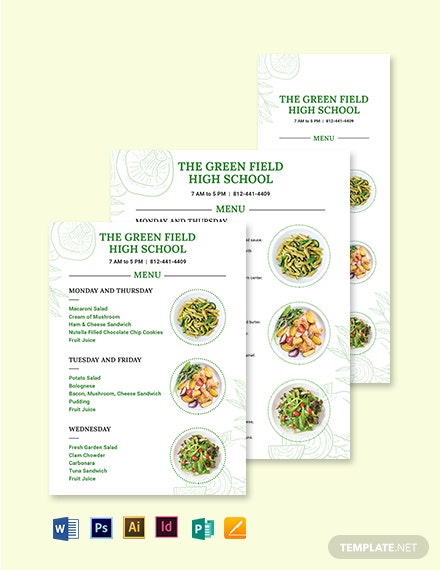 Printable School Menu Template