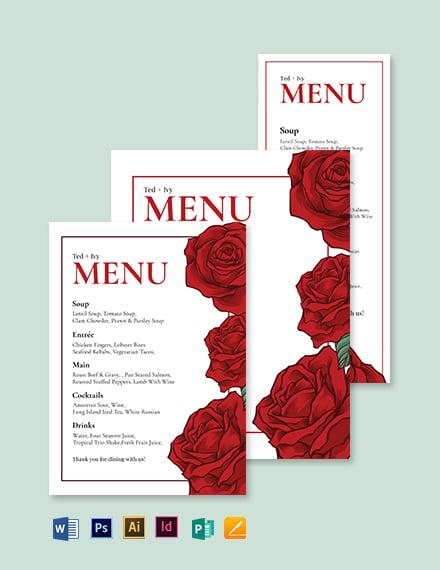 Rose Wedding Menu Template
