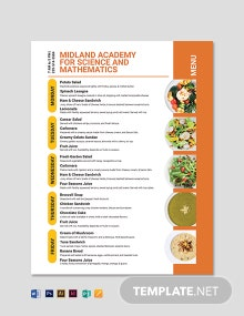 School Flyer Menu Template