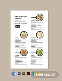 School Poster Menu Template