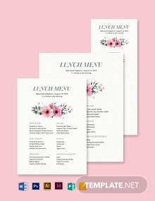 Simple Baptism Menu Template