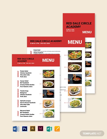 Simple School Menu Template