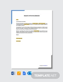 Free Request Letter for Admission Template