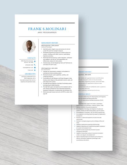 AMX Programmer Resume Download