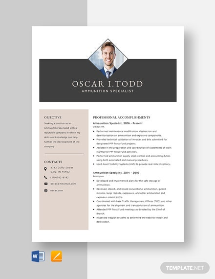 Ammunition Specialist Resume Template