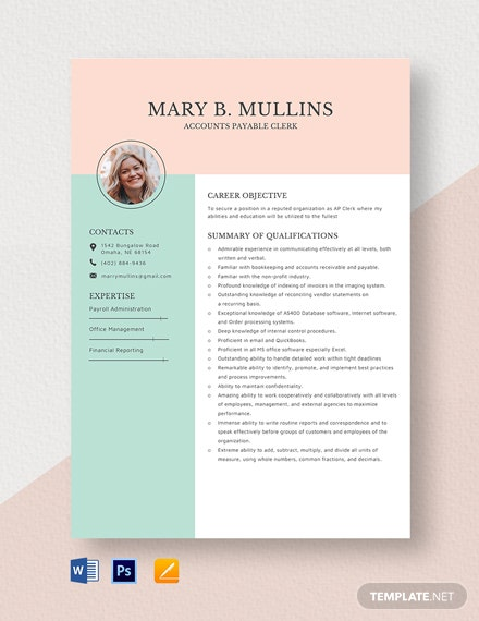 AP Clerk Resume Template