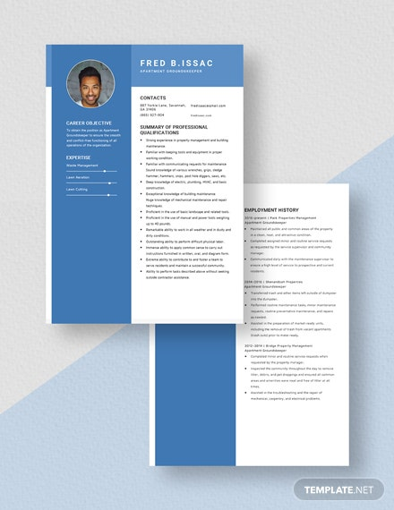 Apartment Grounds keeper Resume Download
