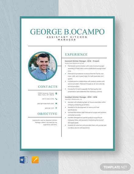 Assistant Kitchen Manager Resume Template