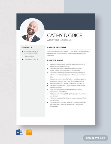 Assistant Librarian Resume Template