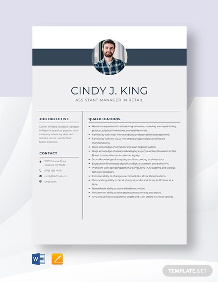 Assistant Manager In Retail Resume Template