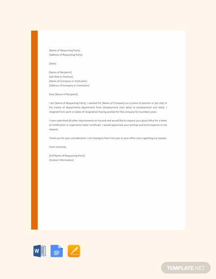 Free Request Letter for Certificate Template