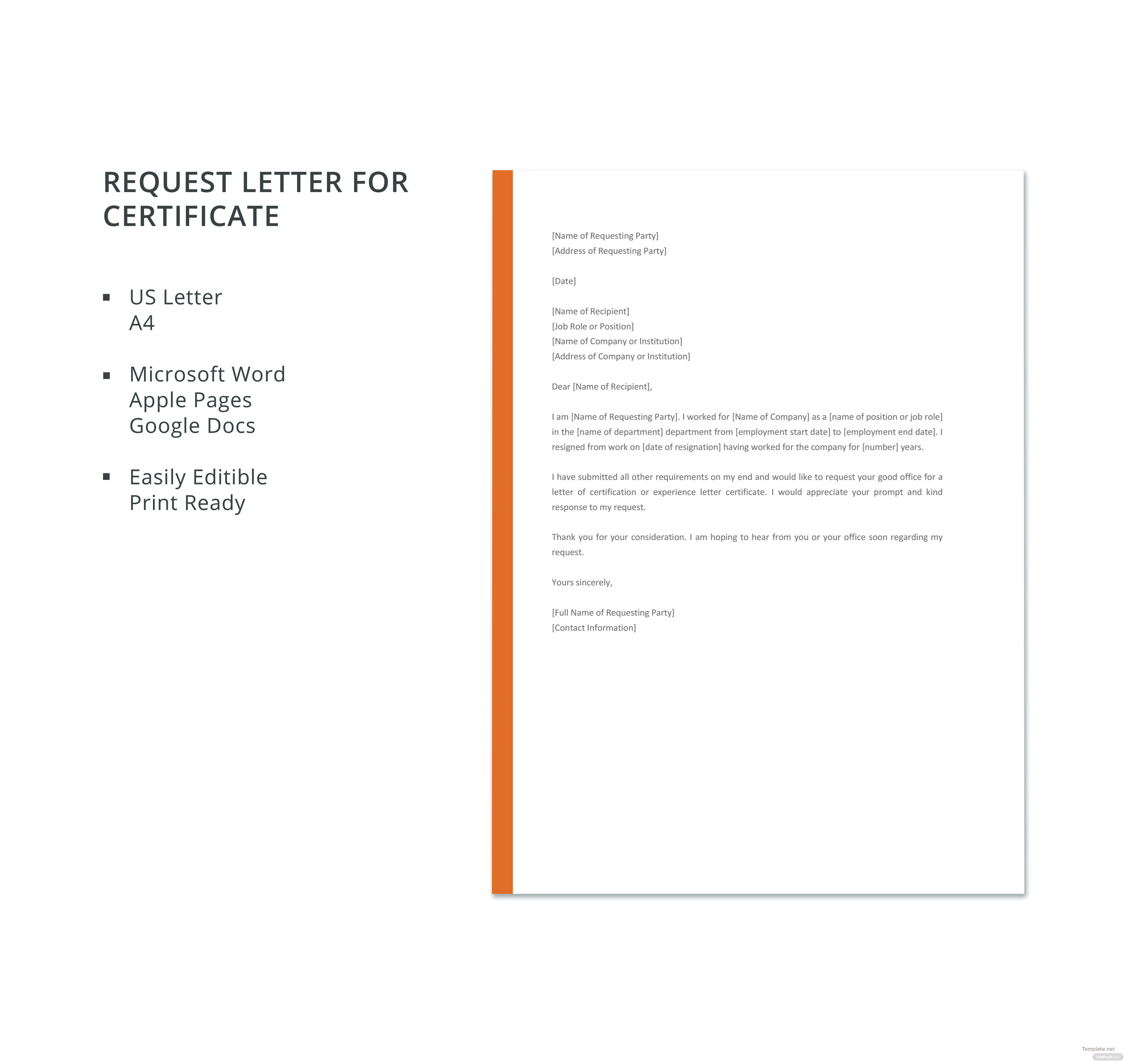 Free request letter for certificate template in microsoft word click to see full template request letter for certificate yadclub Image collections