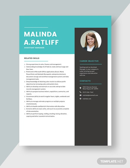 Assistant Manager Resume Template