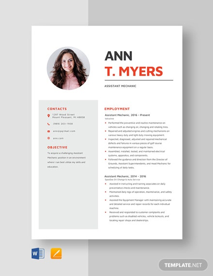 Assistant Mechanic Resume