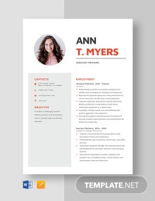 Assistant Mechanic Resume Template