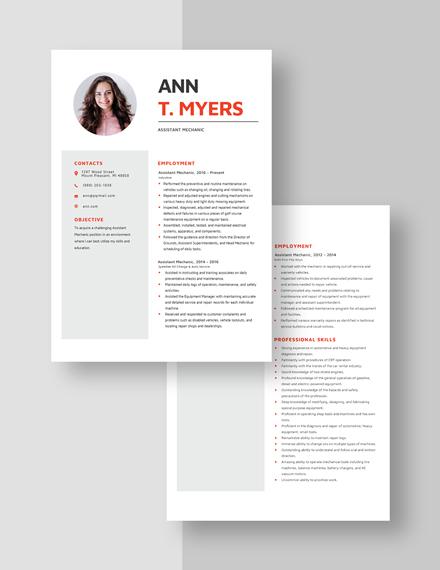 Assistant Mechanic Resume Download
