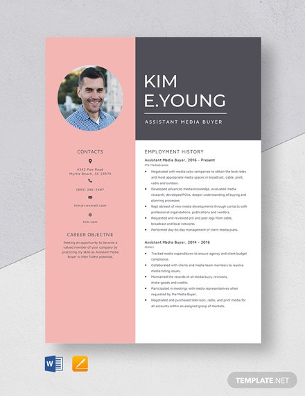 Assistant Media Buyer Resume Template