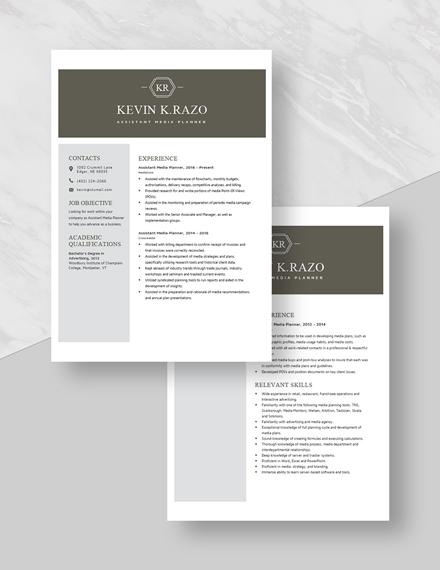 Assistant Media Planner Resume Download