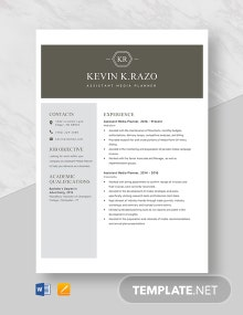Assistant Media Planner Resume Template
