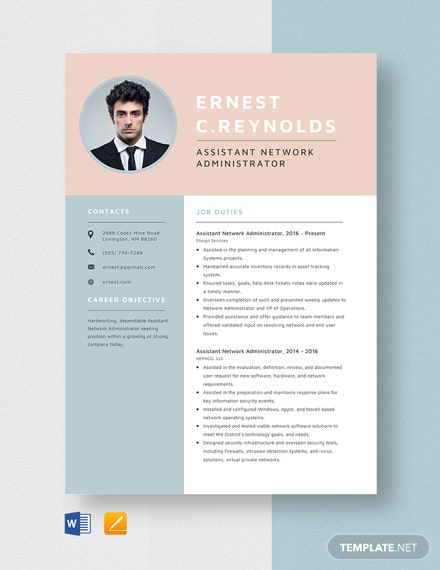 Assistant Network Administrator Resume Template