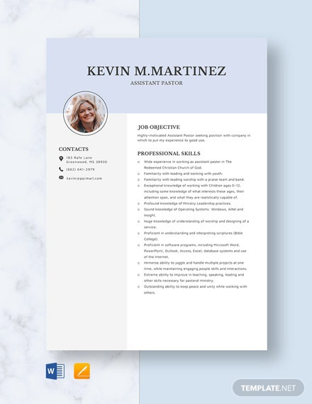 Assistant Pastor Resume Template