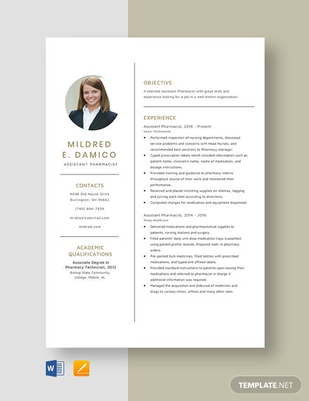 Assistant Pharmacist Resume Template