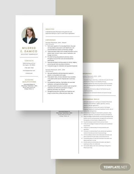 Assistant Pharmacist Resume Download