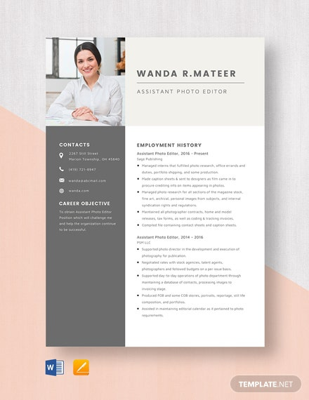 Assistant Photo Editor Resume
