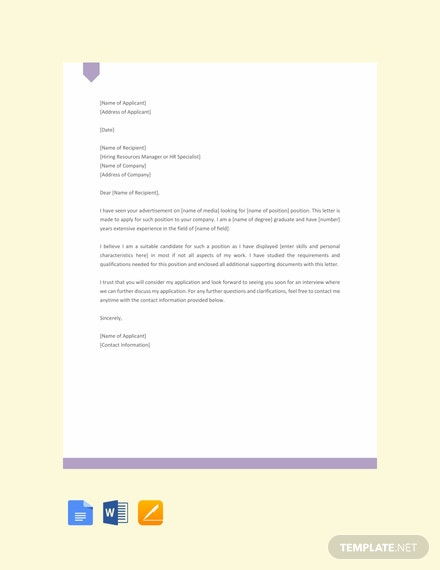 Request Letter for Job Template