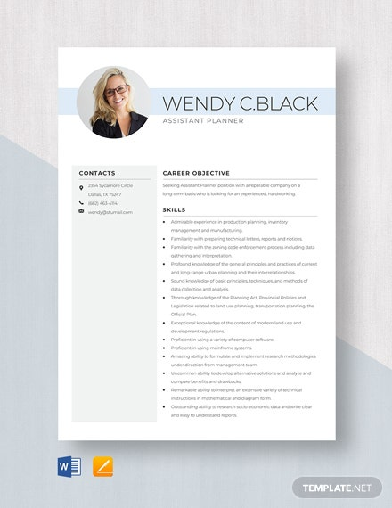 Assistant Planner Resume Template