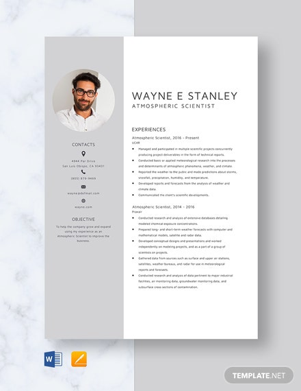 Atmospheric Scientist Resume Template
