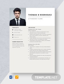 Attendance Clerk Resume Template